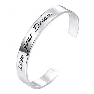 'Live your dream' Cuff Bangle Bracelet