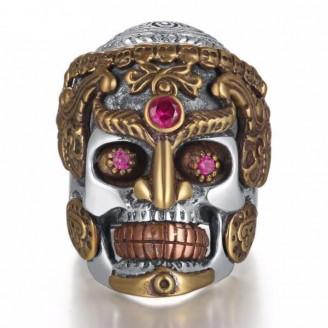 Plata de Faceta Sugar Skull Ring