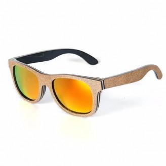 Tangerine Plum Skateboard Bamboo Wood Sunglasses