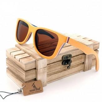 Yellow Skateboard Bamboo Wood Sunglasses [2 Variants]