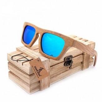 Classic Rectangular Wayfarer Bamboo Wood Sunglasses
