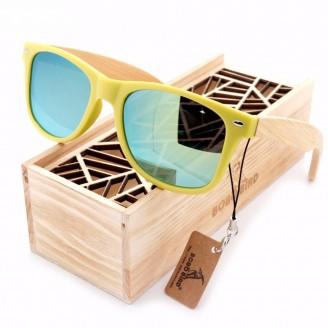 Snazzy Neon Green Wayfarer Bamboo Wood Sunglasses [4 Variants]