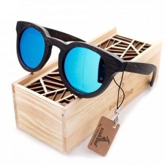 Vintage Round Cat Eye Dark Bamboo Wood Sunglasses [2 Variants]