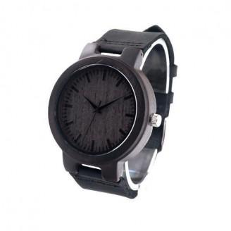Black Bamboo Leather Strap Bracelet