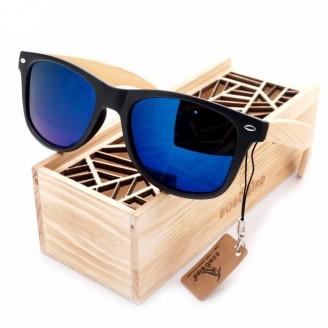 Rectangular Vintage Black Bambusa Blumeana Bamboo Wood Sunglasses [4 Variants]