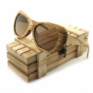 Zebra Oversized Bamboo Wood Sunglasses