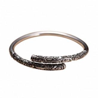 Floret Carving Silver Bangle Luxury Bracelet