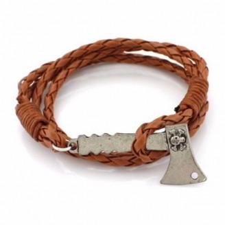 Braided Leather Axe Charm Bracelet [5 Variants]