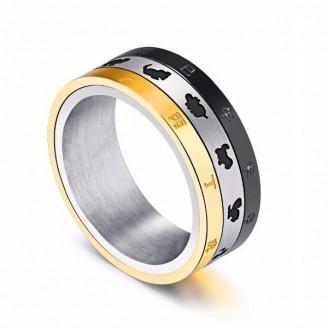 Three Toned Rotating Silver Polished Zodiac Ring