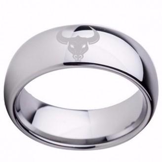 Titanium Silver Taurus Zodiac Tungsten Carbide Ring