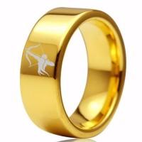 Gold Sagittarius Zodiac Tungsten Carbide Ring