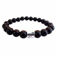 Black Onyx Stone Beads Zodiac Sign Bracelet [12 Variations]