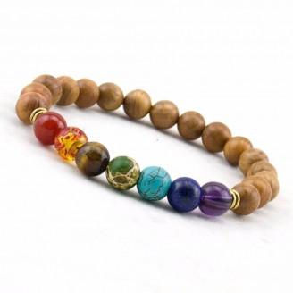 7 Chakra Wooden Mala Beads Bracelet