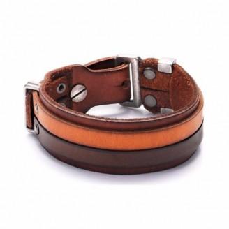Genuine Italian  Leather Wide Cuff Bangle [2 Variations ]