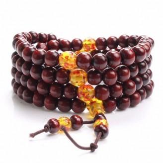 108 Beads Natural Sandalwood Buddhist Prayer Bracelet