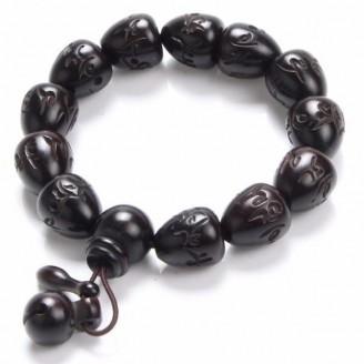 Om Mani Padme Hum Mantra Heart-shaped Wooden Prayer Beads Bracelet