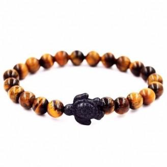 Black Turtle Charm Natural Tiger Eye Beaded Bracelet