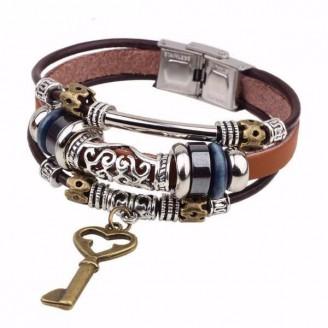 Three-Stack Key Charm Leather Armband Bracelet