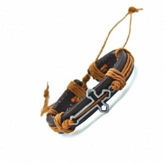 Hollow Cross Charm Leather Bracelets [4 Variations]