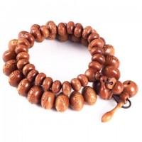 Hand-carved Oval Natural Peachwood Meditation Bracelet