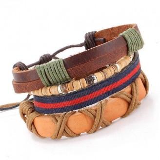 Stackable Vintage Leather Bracelet Set