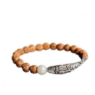 Rudraksha Seed Beads Lotus Fish Charm Bracelet