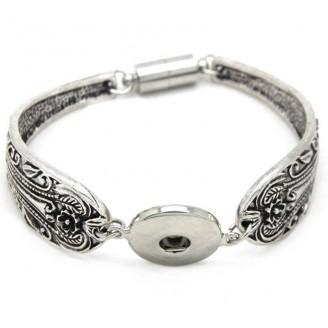 Snap Button Silver Spoon Half Bangle Bracelet