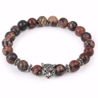 Leopard Head Natural Stone Beaded Bracelet [4 Variations]