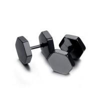 Black Hexagon Double Sided Stud Earrings