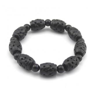 Healing Bian Stone Carved Beads Bracelet