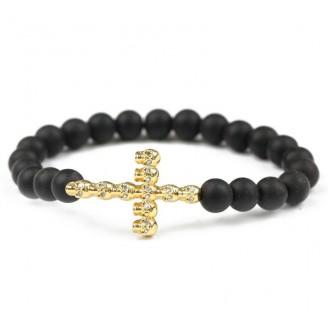 Skull Cross Black Matte Stone Bracelet