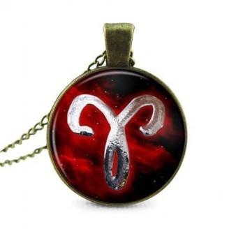 Red Zodiac Glass Cabochon Bronze Pendant Necklace [12 Variants ]