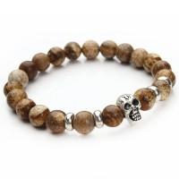 Silver Skull Natural Stone Bracelet [13 Variants ]