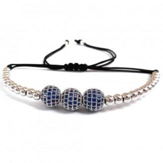 Triple Micro Pavé Blue Crystal Bead Bracelet [4 Variants]