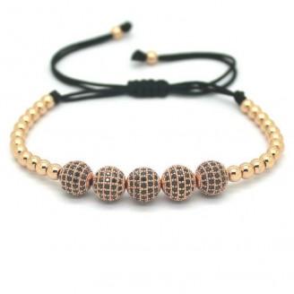 18K Gold Plated Beads 5 Diamond Ball Unisex Bracelet [4 Variants]