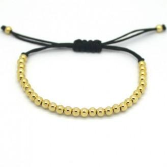 18K Gold 4mm Round Beads Unisex Bracelet [4 Variants]