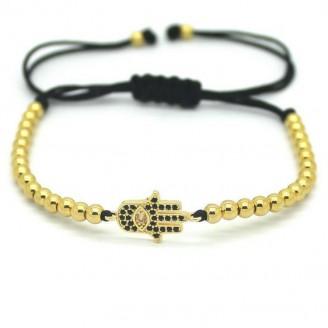 18K Gold Plated Beads Hamsa Hand Unisex Bracelet [4 Variants]
