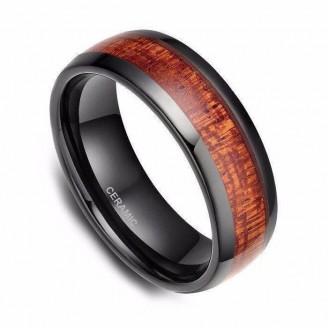 Black Ceramic with Mahogany Wood Inlay Ring