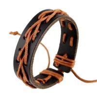 Handwoven Orange Hemp Rope Leather Bracelet