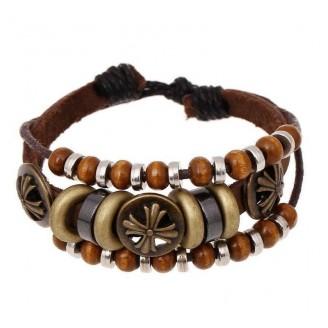 Bohemian Antique Bronze Cross Rivet Leather Bracelet