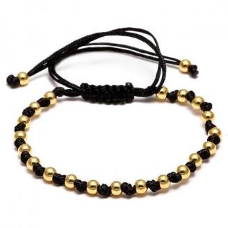 18K Gold 4mm Weaved Beads Unisex Bracelet [4 Variants]