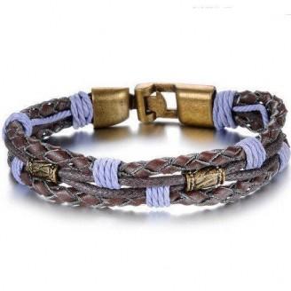 Purple Brown Leather Retro Men's Bracelet