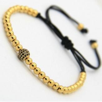 18K Gold Plated Beads 1 Diamond Ball Unisex Bracelet [4 Variants]