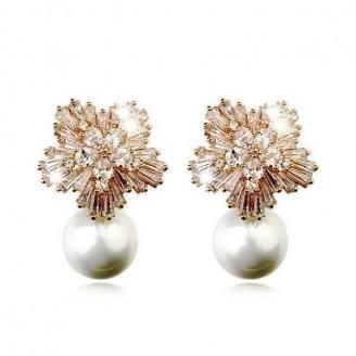 Crystal Cluster Pearl Earrings [2 Variants]