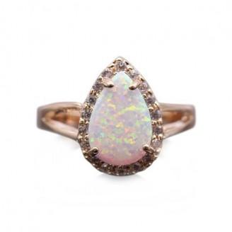 Fire Opal Teardrop Gold Ring