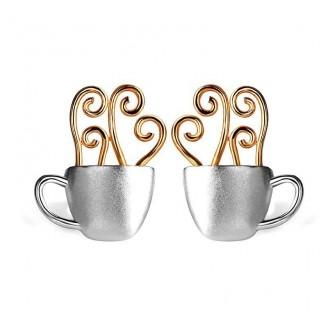 Coffee Cup Sterling Silver Earrings