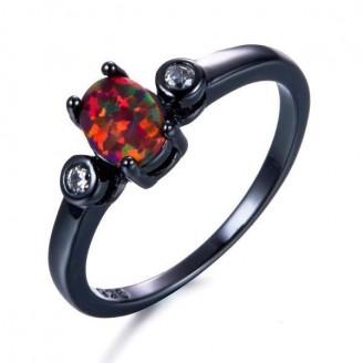Vintage Oval Fire Opal Black Ring