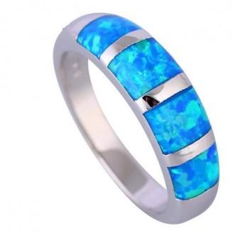 Classic Ocean Blue Silver Opal Ring