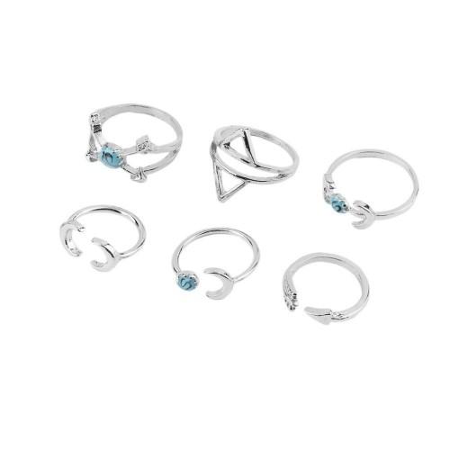 Turquoise Moon Arrow Boho Ring Set [6 Rings] [2 Colors]