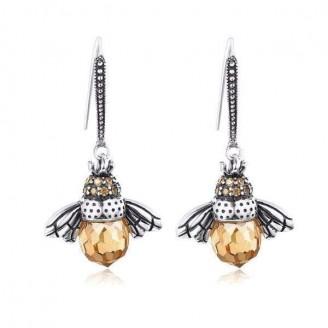 Lovely Honey Bee Silver Earrings